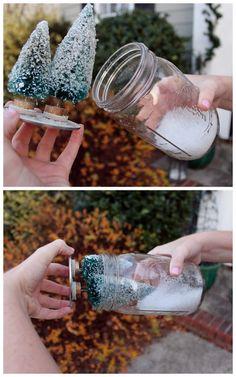 Anthropologie mason jar snow globe diy