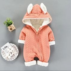 Lovely Rabbit Design Hooded Long-sleeve Jumpsuit for Baby