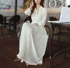 white/ black long sleeve Chiffon Pleated Long dress circumference Long Dress maxi skirt maxi Dress Party Wedding Prom Dress  XS-L on Etsy, $59.00
