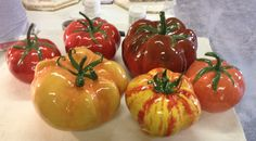 A collection of colorful ceramic tomatoes, all approx diameter Sculptures For Sale, Tomatoes, Mosaic, Stuffed Peppers, Colorful, Ceramics, Vegetables, Collection, Food