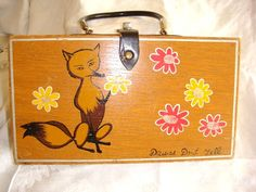 Wooden Purse  Tote  Sewing Box with Daisies and by Kleymannscloset, $5.00