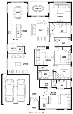 Really like this, would just switch the bathroom and bedroom so the plumbing was together. House Design: Vancouver - Porter Davis Homes 6 Bedroom House Plans, Dream House Plans, House Floor Plans, Single Storey House Plans, Model House Plan, Home Design Floor Plans, House Blueprints, New Home Designs, House Layouts