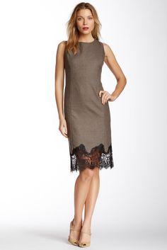 Vince Camuto Lace Trim Printed Shift Dress