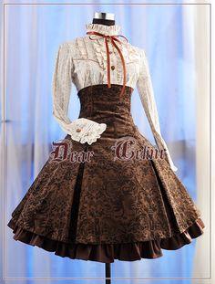 Dear Celine Victorian Embossed High waisted Skirt