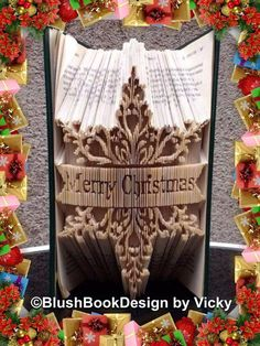 Merry Christmas Snowflake Book Folding Art Pattern unusual unique gift by BlushBookDesign on Etsy