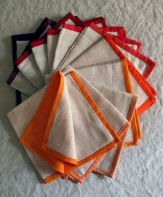 Linen napkins... definitely making these - I refuse to pay the ridiculous price in stores when I can make them for a fraction of the price at home and choose my own colors.