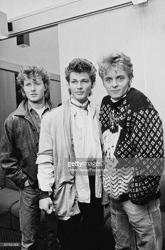 Norwegian pop group A-ha posed in London on 10th April 1984. From left to right: Magne Furuholmen, Morten Harket and Pal Waaktaar.
