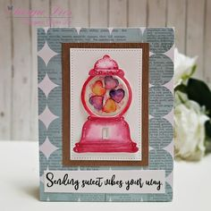 Today I want to share a card using Love Machine die. Red Cupcakes, Love Machine, Colored Paper, Paper Background, Handmade Cards, Messages, Crafty, Room, Craft Cards