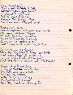 """Handwritten lyrics for #DavidBowie's """"Ziggy Stardust"""""""