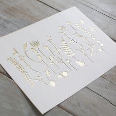 £40 Mr Yen - Personalised Paper Cut Art — Botanical Elements Pattern Paper Cut