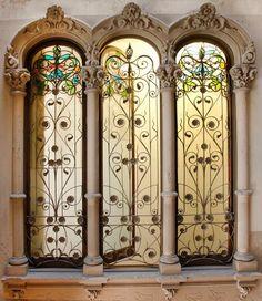 Modernista triple window in Barcelona, catalonia | Europe