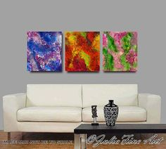 OTHER ITEMS in my ETSY Store: JULIAAPOSTOLOVA.etsy.com  High Quality and gorgeous large giclee #PRINT of original SOLD Hand-painted #abstract Triptych ''Star Dust (Part 2) by... #art #painting #print #watercolor
