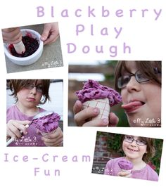 Easy Blackberry No Cook Play Dough - Ice Cream Pretend Play from My Little 3 and Me. For more sensory related pins, visit the SPD Blogger Network boards here: @SPDBN