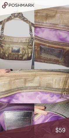 """✨Coach - gold poppy shimmer story patch tote 100% authentic❗️ Love this tote, unfortunately I just don't use purses anymore... it's a glamorous """"storypatch"""" lured fabric with metallic leather trim.  Gentle wear on straps and front patch, (not very noticeable) little bit of discoloration at bottom of the inside of bag. Dimensions: height 14, depth 4, length 16 Coach Bags Shoulder Bags"""