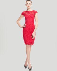 ML Monique Lhuillier Lace Dress - Cap Sleeve Sheath | Bloomingdale's