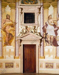AKG-imágenes -Trompe-l'oeil with mythological figures, by Louis Dorigny (1654–1742), circular central hall Villa Almerico Capra, also known as La Rotonda (UNESCO World Heritage List, 1994), Vicenza, Veneto.