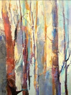 """Vertical Rhythms-Abstract Landscape by Joan Fullerton Oil ~ 40"""" x 30""""                                                                                                                                                                                 More"""