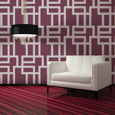 Maze Modern Classic Plum Removable Wallpaper | Kathy Kuo Home