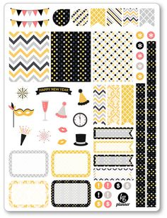 Ringing In The New Year Decorating Kit / Weekly Spread Planner Stickers for Erin Condren Planner, Filofax, Plum Paper