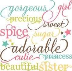 Girl Words Set SVG cutting files for scrapbooking paper crafts girl svg cuts free svgs