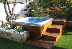 Outdoor jacuzzi ideas on a wooden deck with steps on the backyard. The very first and essential thing when developing an outdoor jacuzzi is to discover a great view for it. Find out more here. Hot Tub Gazebo, Hot Tub Backyard, Backyard Patio, Backyard Landscaping, Backyard Ideas, Wood Patio, Jacuzzi Outdoor Hot Tubs, Patio Decks, Diy Deck