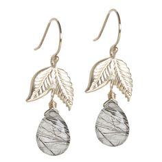 Amanda Vogler Jewellery - Tourmalinated Quartz Drop Earrings w/ Leaves