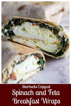Recipes Breakfast Wraps This Copycat Starbucks spinach and feta breakfast wrap is a great way to start your day and keep you full all morning. It is a healthy, low-fat breakfast wrap with egg whites, feta cheese, tomatoes, and spinach. Low Fat Breakfast, Breakfast Burger, Breakfast And Brunch, Healthy Breakfast Recipes, Brunch Recipes, Gourmet Recipes, Cooking Recipes, Healthy Recipes, Healthy Starbucks Breakfast