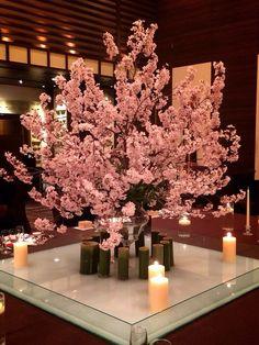 春満開の結婚式会場装花にうっとり~❤桜満開のゲストテーブル装花は圧巻です❢❢