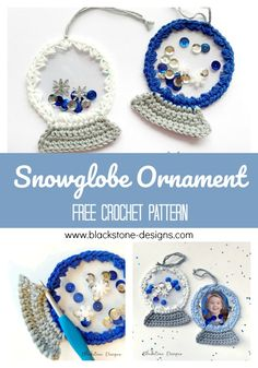 Snowglobe Ornament free crochet pattern from Blackstone Designs  #crochet #freecrochetpattern #snowglobe #crochetsnowglobe #snowglobeornament #christmassnowglobe #christmasornament #crochetornament