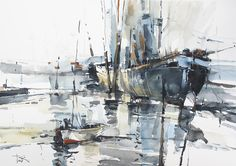 Seascape Painting - Summer Shower 13 by Tony Belobrajdic