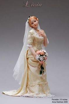 1:12 Anna Hardman's winderful miniature porcelain bride, Livia, made from er own original mold. was named a 2010 Doll of the Year Industry Choice Winner from Doll Reader Magazine.