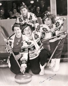 Vintage Curling – Photographs, Teams, & Equipment 1900 – Curlers sporting Mary Maxim Snowflake sweaters, Tam-o-Shanters, corn brooms and Olympic Sports, Olympic Games, Commonwealth, Cowichan Sweater, Ski Sweater, Knit Sweaters, Women's Curling, Canadian History, Apres Ski