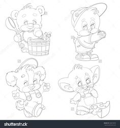 Set of contour animals. Animal Paintings, Animal Drawings, Candy Drawing, Teddy Bear Pictures, Cute Coloring Pages, Fabric Painting, Paper Flowers, Embroidery Patterns, Diy And Crafts
