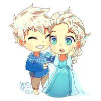 Elza and Jack Frost Chibi Frozen Love, Elsa Frozen, Jack Frost And Elsa, Queen Elsa, How To Make Comics, Kawaii, Jelsa, Disney Art, Disney Pixar