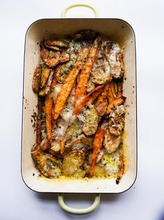 Melt in the mouth: Nigel Slater's carrot and potato (or cabbage or mushroom) bake with Fontina. Vegetarian Cooking, Healthy Cooking, Vegetarian Recipes, Healthy Recipes, Healthy Meals, Cooking Recipes, Veggie Side Dishes, Vegetable Dishes, Food Dishes