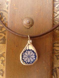 Broken China Blue and White Tear drop pendant by AzureJoyeria