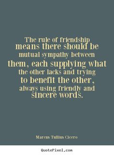 Diy image quotes about friendship - The rule of friendship means there should be mutual sympathy..