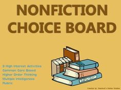 9 creative activities to culminate the reading of a nonfiction text! Students can choose from a variety of activities to create their own final project. Includes choice board and rubric! Use as classwork, homework, extension activities, early finisher Anchor Activities, Book Activities, Student Reading, Teaching Reading, Middle School Novels, Choice Boards, Higher Order Thinking, Reading Response, Book Projects