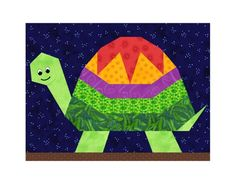 pieced quilt patterns | Turtle paper piecing quilt block pattern by PieceByNumberQuilts