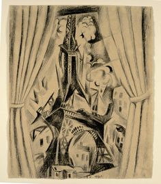 """met-modern-art: """" The Eiffel Tower and Curtain by Robert Delaunay, Modern and Contemporary Art Medium: Lithographic crayon on board Leonard A. Lauder Cubist Collection, Gift of Leonard A. Lauder, 2016 Metropolitan Museum of Art, New York,..."""