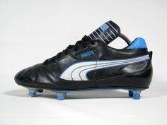vintage PUMA Football Boots uk 7.5/fr 41 rare OG 80s SG leather black/blue/white   eBay