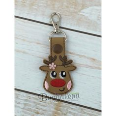 Reindeer Key Fob Embroidery Design With Snap Tab
