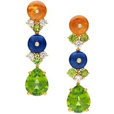 One-of-a-kind earrings from the high jewelry collection18kt gold with yellow diamonds, peridots, & sapphires