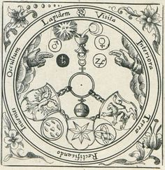 Vitriol fromViridarium Chymicumby Daniel Stolcius (1624), showing the Sun and Moon pouring their essences (gold and silver, respectively) into a cup.