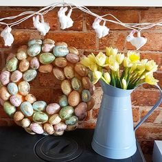 woodland rabbit string lights #tfifriday #daffodils #easterwreath #springcolours
