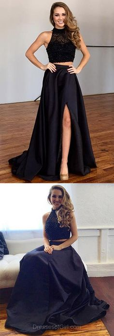 Black A-line High Neck Satin Tulle Sweep Train Split Front Two Piece Prom Dress