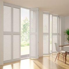 White DIY Plantation Shutters Blinds Online Australia for Windows White Shutter Blinds, White Shutters, Shutter Doors, Window Shutters, Cedar Shutters, White Blinds, Interior Shutters, Timber Slats, Windows