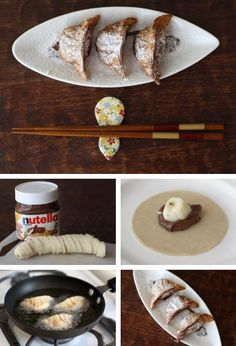 Nutella Banana Gyoza Dumplings! (recipe/tutorial) #diy #nutella #gyoza  http://thecakebar.tumblr.com/post/20751390636/nutella-banana-gyoza-dumplings-recipe-tutorial
