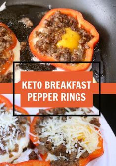 Fast and easy Keto Breakfast Pepper Rings Recipe. Low carb, high fat perfect for anyone who wants to start the day off right. Eat fat and lose weight. - Egg Whites and turkey sausage for low fat option Low Carb High Fat, Low Carb Diet, Calorie Diet, Paleo Diet, Ketogenic Recipes, Low Carb Recipes, Healthy Recipes, Cooking Recipes, Sausage Recipes