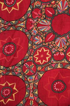 Uzbek Suzani (detail), silk embroidered panel, Tashkent region, Uzbekistan, ca. Motifs Textiles, Vintage Textiles, Textile Patterns, Print Patterns, Floral Patterns, Art Textile, Textile Design, Fabric Design, Textile Artists
